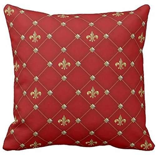Vintage Fleur de Lis on Deep Rich Red Pattern Throw pillow case (Fleur De Lis Flap)