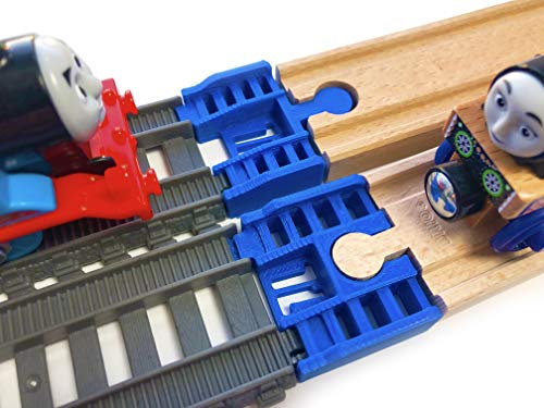 (TrainLab Track Adapters Compatible with Trackmaster (2014+) to Wooden Railway Train Tracks (2pc) (Blue))