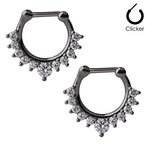 Ruifan 16G Nose Ear Daith Septum Clicker Ring with Clear CZ Gems 316L Surgical Steel 2PCS - - Jewelry Cartilage 16g Gun Body