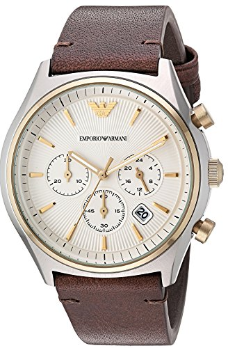Emporio Armani Men's 'Zeta' Quartz Stainless Steel and Leather Casual Watch, Color:Brown (Model: AR11033) Emporio Armani Model