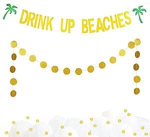 Gold Glitter Drink Up Beaches Banner Hawaii Luau Tropical Summer Beach Theme Party Garland Bunting Bridal Shower Bachelorette Baby Shower Wedding Engagement Birthday Decoration Supplies