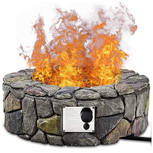 Fire Pits Giantex Gas Fire Pit, 28 Inch 40,000 BTU Propane Fire Pit Outdoor w/ Natural Stone, Cover, ETL Certification, Stainless… firepits