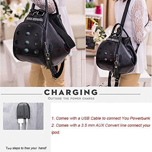 charging shoulder bag Black Aux port Deal Stylish designer and use with USB for Especial way music girls port backpack 3 Pink xzxq8gw6