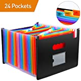 File Folder Organizer/24 Pockets Hot Pressing Forming Document Organizer with Cloth Edge Wrap,Multi-Color Accordion A4 Document Organizer with Expandable Wallet Stand for Business/Office/Study/Home