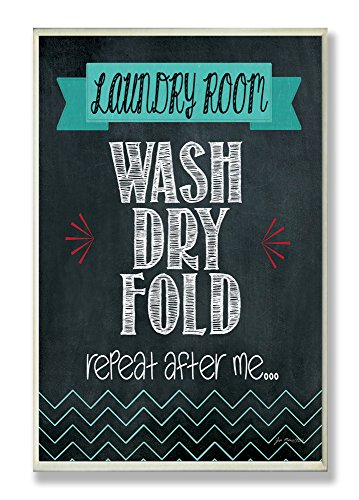 Stupell Home Décor Wash Dry Fold Chalkboard Bathroom Wall Plaque, 10 x 0.5 x 15, Proudly Made in USA ()