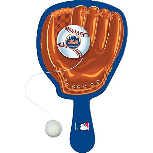amscan Sports & Tailgating MLB Party New York Mets Paddle Balls (4 Pack), Blue/Brown, 12.5 x 5.7
