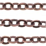 Beadaholique Antiqued Copper Plated Flat Link Cable Chain 4.3mm Bulk By The Foot