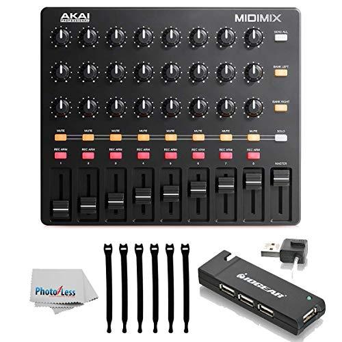 Akai Professional MIDImix High-Performance Portable Mixer/DAW Controller with 4-Port USB 2.0 Hub + Strapeez + Photo4Less Clean Cloth Top Value Accessory Bundle! -