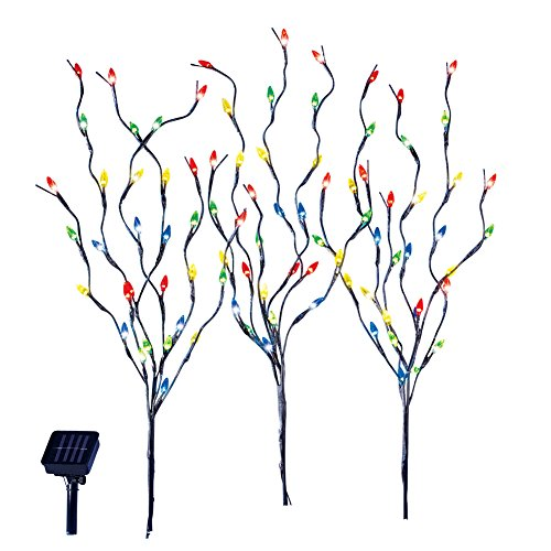 Stake Christmas Tree - Collections Etc Solar Christmas Light Tree Branch Stakes, Set Of 3