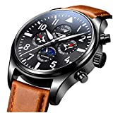 CARNIVAL Mens Automatic Machine Stainless Steel Sapphire Waterproof multifunction Brown Leather Watch