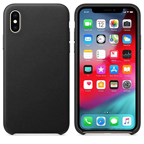 Starred Original Design Leather Case for Apple iPhone Xs MAX Slim Protective Cover [Ultra Thin & Lightweight] (Black)