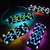 Led Light Clock - Led Electronic Clock - 6 Digit LED Large Screen Two-Color Digital Tube Desktop Clock Kit Touch Control ( Electronic Led Clock )