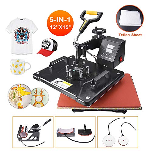 """Power Heat Press Machine 12"""" X 15"""" Professional Swing Away Heat Transfer 5 in 1 Digital Sublimation 360-Degree Rotation Multifunction Combo for T-Shirt Mugs Hat Plate Cap"""