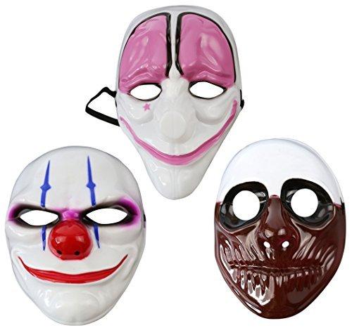 Payday Mask,Outgeek 3 Pcs Hoxton Dallas Wolf Payday Mask Clown Mask Airsoft Payday Mask for Xmas Party Kids Adult -