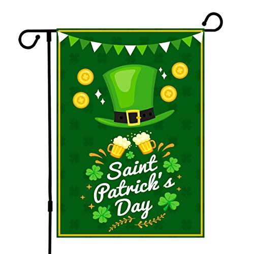 De Lon St. Patricks Day Flag, Happy St Patricks Day Flag, 12.5x18in St Patricks Garden Flag, Double Linen Fabric, Decorate Your Garden
