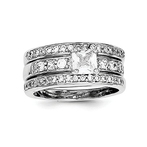 Top 10 Jewelry Gift Sterling Silver CZ 3 Piece Wedding Set Ring by Jewelry Brothers Rings