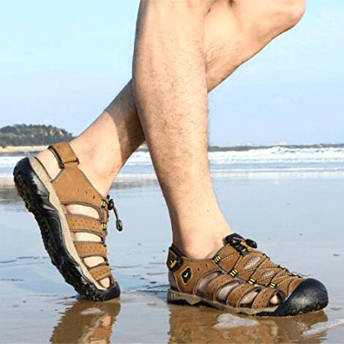 Da Beach Shoes Outdoor Traspiranti ZHONGST Estivi Sandali Sandali Casual Lightbrown Uomo wYAUAXEq