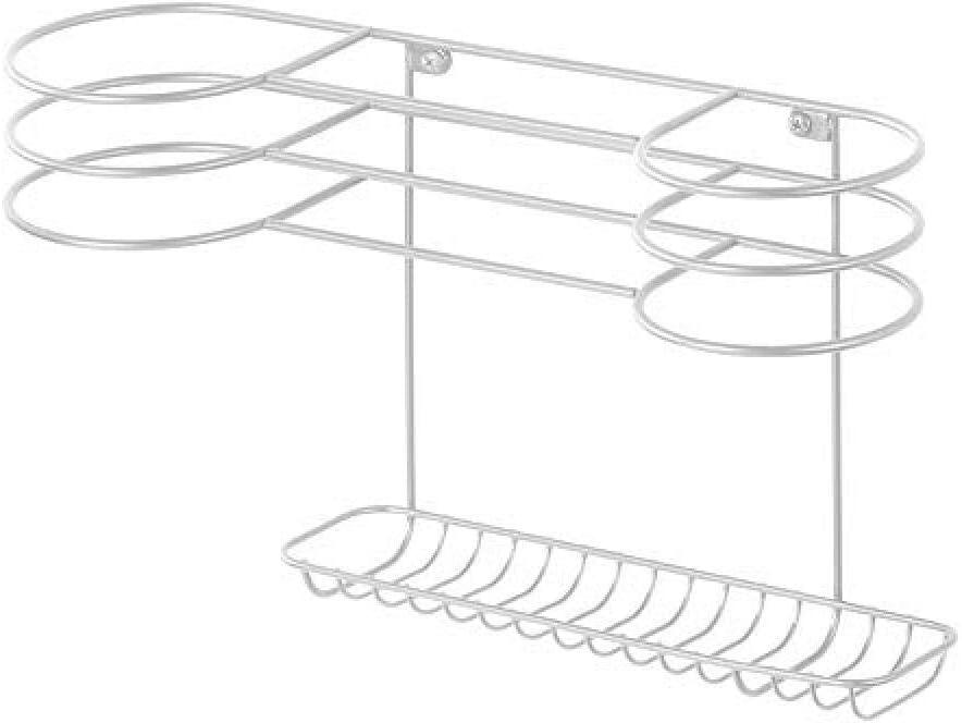 ideal zur F/ön Aufbewahrung und Lockenstab Aufbewahrung wei/ß F/önhalter zur Wandmontage Noilyn Wandregal aus Metall mit Mehreren Halterungen