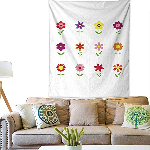 BlountDecor Simple Tapestry Flowers Flat Style Isolated on Background Set Colorful Floral Icons 57W x 74L INCH