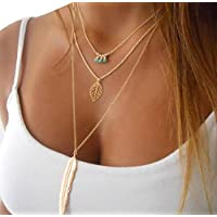 Womens Necklace, Gillberry Women Multilayer Irregular Pendant Chain Statement Necklace