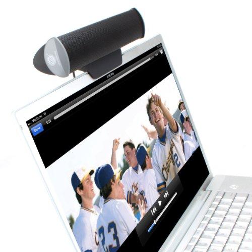 GOgroove USB Laptop Computer Speaker with Clip-On Portable Soundbar Design (Black) - Works with HP Stream, Toshiba