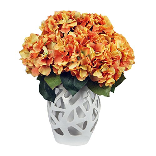 Vanki 1 PC Vintage Artificial Flower Silk Flowers Bouquet,Orange (Fall Flower Centerpiece)