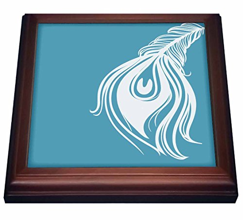 3dRose trv_186742_1 White and Teal Peacock Feather Trivet with Ceramic Tile, 8