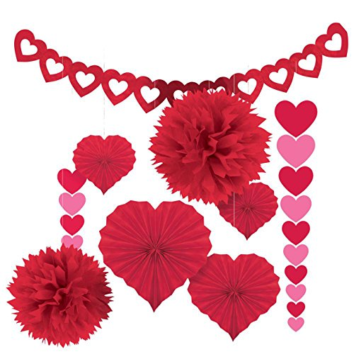 Amscan Blushing Valentine's Day Paper Party Decorating Kit (Pack of 9), Red, One Size (Valentine Decoration)