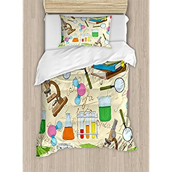 Amazon ambesonne periodic table duvet cover set twin size ambesonne kids duvet cover set twin size science education lab sketch books equation loupe microscope molecule flask print decorative 2 piece bedding set urtaz Gallery