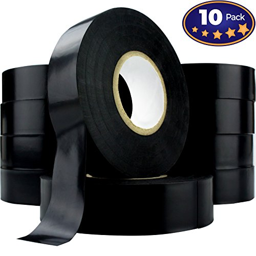 ade Black Electrical Tape Jumbo Roll 10 Pack. Huge 60 Foot Rolls Of 3/4 Inch PVC Vinyl With Ultra Weather-Resistant Adhesive. Withstands High Heat for Electrician/Automotive Use (Jumbo Vinyl)