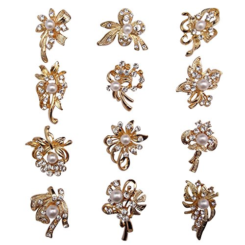 12px Pearl Brooches Butterfly Mixed Designs Silver or Gold Colors Brooch Pins - Butterfly Brooch Pearl