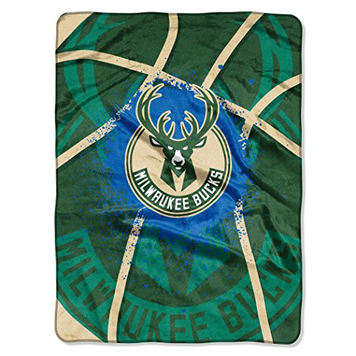 Officially Licensed NBA Milwaukee Bucks Shadow Play Plush Raschel Throw Blanket, 60