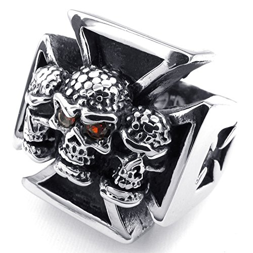 TEMEGO Jewelry Mens Stainless Steel Ring, Gothic Cross Skull Band, Black Red Silver Red Gothic Cross