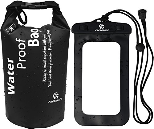 Trash Cache - Freegrace Waterproof Dry Bag - Lightweight Dry Sack with Seals and Waterproof Case -Float on Water -Keeps Gear Dry for Kayaking, Beach, Rafting, Boating, Hiking, Camping and Fishing (2L, Black)