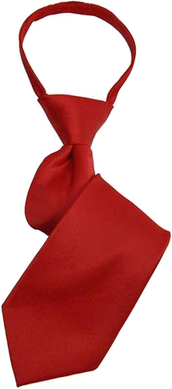 Color : White, Size : 14 x 2.75 Juexianggou Boys Solid Color Pre-tied Zipper Neck Tie Mens Classic Neckties