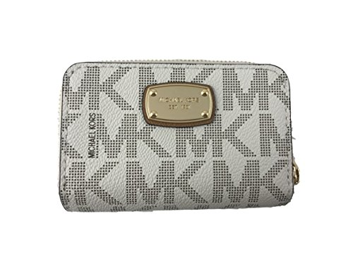 Signature Coin Set (Michael Kors Jet Set Item PVC Signature Key Case Coin Wallet in Vanilla)