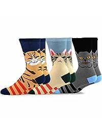 TeeHee Men's Fun Cats Cotton Crew Socks 3-Pack