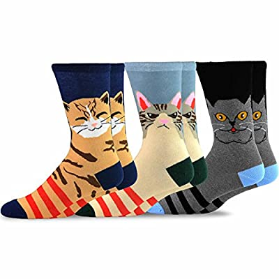 Cat Fan related Products TeeHee Fun Cats Cotton Crew Socks 3-Pack [tag]