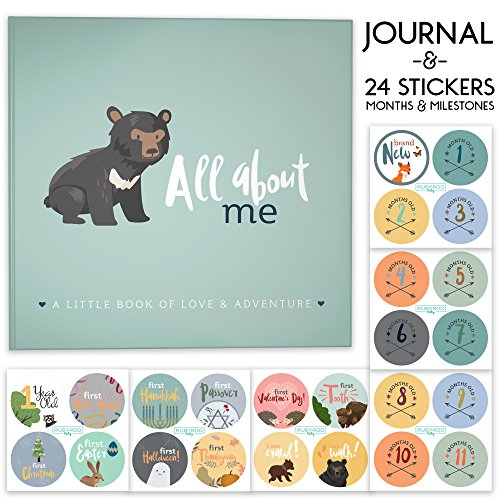 First Year Baby Memory Journal Book + Bonus Monthly Milestone Stickers. Baby shower gift & keepsake to record photos & milestones. Five year scrapbook & picture album for boy & girl babies. (Woodland)