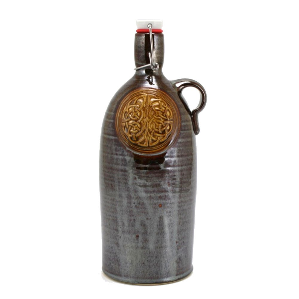 64oz Tall Boy Beer Growler with Celtic Knot emblem and Metallic Brown Glaze