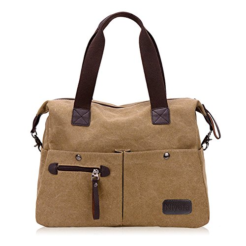 Vintage Shopping Large Travel Handbag School Bag Shoulder Office Handbag Nlyefa for Canvas Womens Bags Khaki Tote Hobo 1CU5xnq
