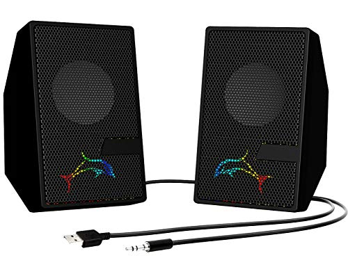 Computer Speakers, PC Speaker with Flashing LED Lights, USB Powered Desktop Speakers Small, 3.5mm Aux Audio Jack, 2.0 Gaming Speakers Wired Volume Control for Laptop Tablets Cellphone MP3, Black