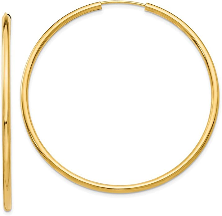 14K Yellow Gold Polished 45mm Round Endless Hoop Earrings