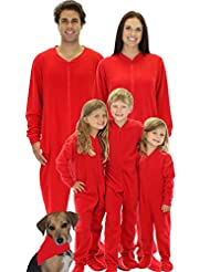 SleepytimePjs Family Matching Red Footed Onesie Fleece Pajamas