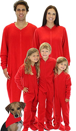 SleepytimePjs Infant Red Fleece Footed Pajamas for Family (STM717-I-RED-18MO)