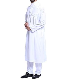 Lâche Style Moyen-Orient Kaftan Dubaï Arabe Musulman Islamique Hommes  Vêtements Costume Chemise Pantalon S 42e32e9418f
