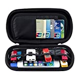 Happy Hours - Travel Organizer Hard Protective Carrying Pouch Sleeve / Portable EVA Case Bag for U Disk, SD Card, USB Flash Drives, Memory Cards, Cables, Smartphone with Mesh Accessories Pocket(Black)