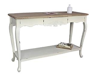 elbmoebel Tavolo Consolle scrittoio Bianco Marrone Antico Paese casa Tavolo di Legno Credenza Shabby Chic