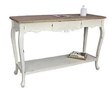 Elbmöbel Konsolentisch Sekretär Weiß Braun Antik Landhaus Holz Tisch