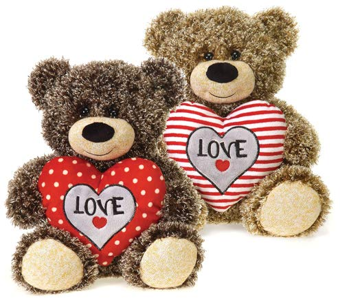 LoonBalloon10.5 Inch Curly Plush Bear with Heart 2pk Valentine's Day Décor, Gift and Balloons